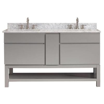 Tribeca 60 in. Vanity in Chilled Gray with Marble Vanity Top in Carrara White