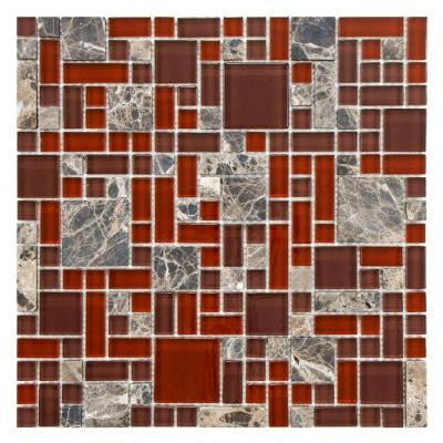 Tessera Versailles Bordeaux 11-3/4 in. x 11-3/4 in. x 8 mm Glass and Stone Mosaic Tile