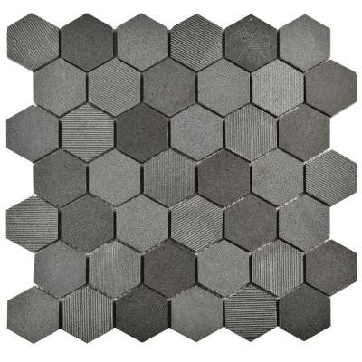 Structure Due Hex Black 11-3/4 in. x 12 in. x 8 mm Natural Lava Stone Mosaic Tile
