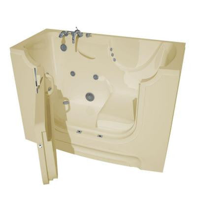5 ft. Left Drain Walk-In Air Bath Tub in Biscuit