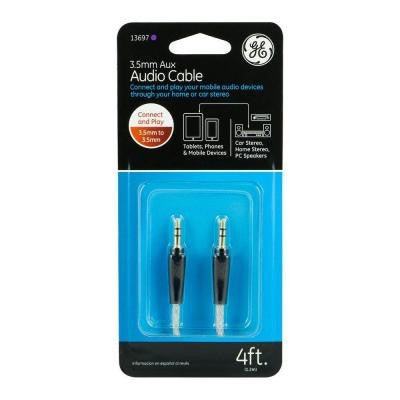 4 ft. 3.5 mm to 3.5 mm Auxiliary Audio Cable - Clear