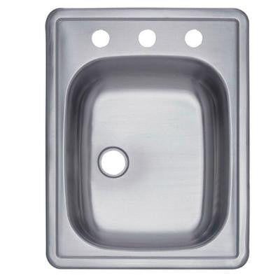 Topmount Stainless Steel 17 in. 3-Hole Single Bowl Bar/Prep Sink
