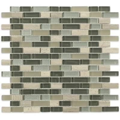 Naiad Blend Bricks Pattern 12 in. x 12 in. x 8 mm Marble and Glass Mosaic Floor and Wall Tile