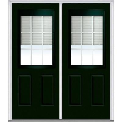72 in. x 80 in. Classic Clear RLB GBG Low-E 1/2 Lite 2-Panel Painted Fiberglass Smooth Double Prehung Front Door