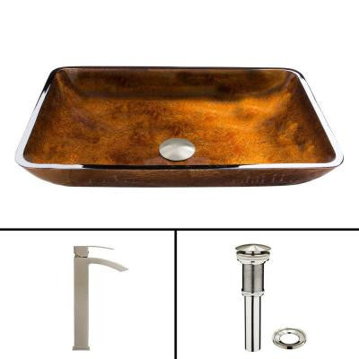 Glass Vessel Sink in Russet and Duris Faucet Set in Brushed Nickel