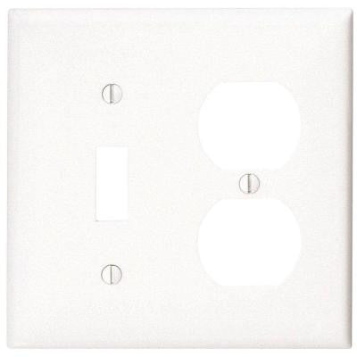 2-Gang 1 Toggle 1 Duplex Combination Wall Plate - White