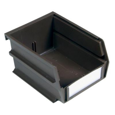 LocBin 5-3/8 in. x 4-1/8 in. x 3 in. Stacking, Hanging, Interlocking Polypropylene Bin in Brown (24-Piece)