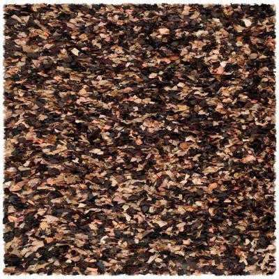 Rio Shag Brown/Multi 8 ft. x 8 ft. Area Rug