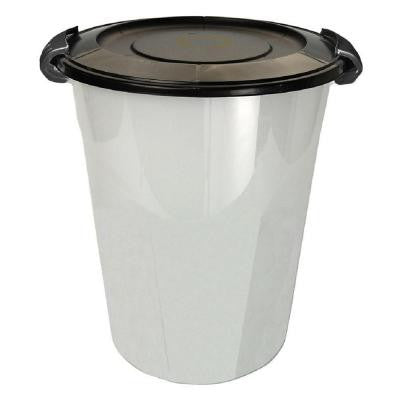 24 qt. Plastic Utility Can Natural Base/Black Lid and Clasps