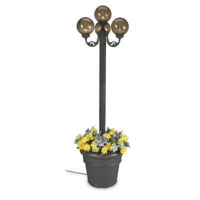 20 in. European Park Style Four Bronze Globe Plug-In Outdoor Black Lantern with Planter