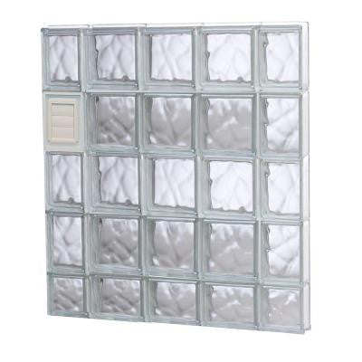 34.75 in. x 36.75 in. x 3.125 in. Wave Pattern Glass Block Window with Dryer Vent