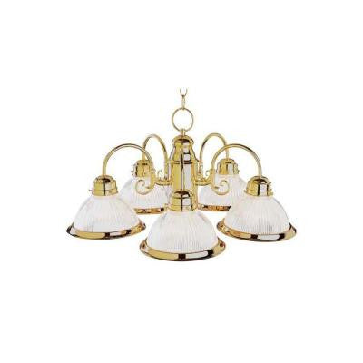 Stewart 5-Light Polished Brass Incandescent Ceiling Chandelier
