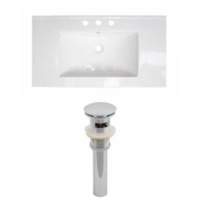 31 in. W x 22 in. D Ceramic Vanity Top Set with Basin in White and Drain