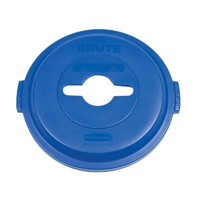Brute 32 Gal. Blue Round Trash Can Single Stream Recycling Lid