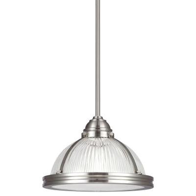 Pratt Street Prismatic 1-Light Brushed Nickel Pendant with Glass and Diffuser