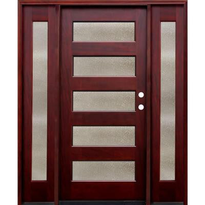 70 in. x 80 in. Contemporary 5 Lite Seedy Stained Mahogany Wood Prehung Front Door w/ 6 in. Wall Series,14 in. Sidelites