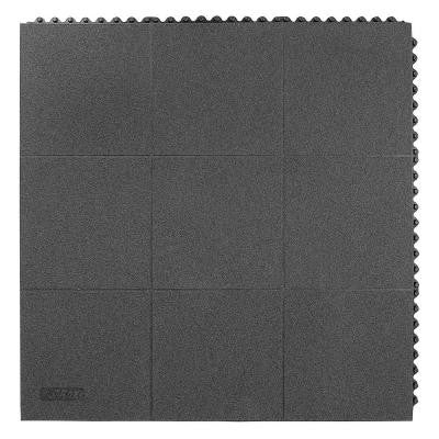 Niru Cushion-Ease GSII Solid Gritted Black 3 ft. x 3 ft. Nitrile Rubber Anti-Fatigue/Safety Mat