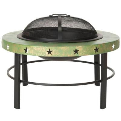 Belize 32 in. Iron Fire Pit in Green and Black