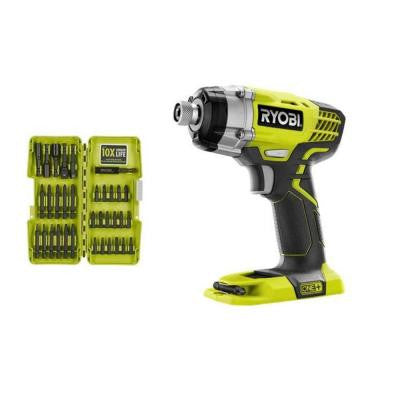ONE+ 18-Volt Impact Driver (Bare Tool) with Impact Driver Bit Set (34-Piece)
