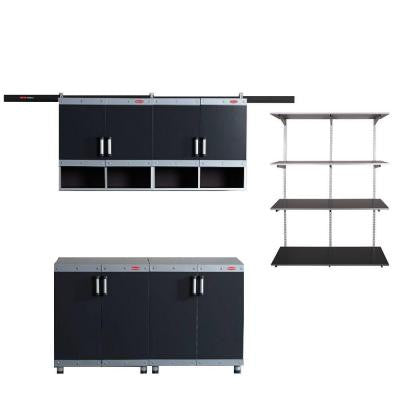 FastTrack Garage Laminate 4-Piece Cabinet Set with Shelving in Black/Silver