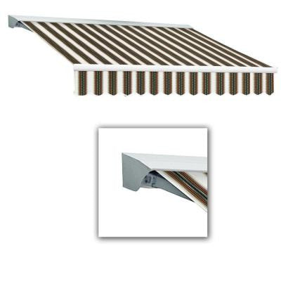 10 ft. LX-Destin with Hood Left Motor/Remote Retractable Acrylic Awning (120 in.) in Burgundy/Forest/Tan Multi