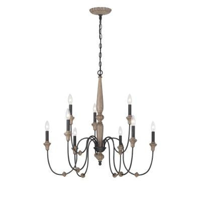 Capra Collection 9-Light Rust Chandelier with Distressed Ivory Accents