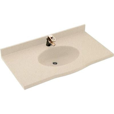 Europa 43 in. W x 22-1/2 in. D x 11-38 in. H Solid-Surface Vanity Top in Bermuda Sand with Bermuda Sand Basin