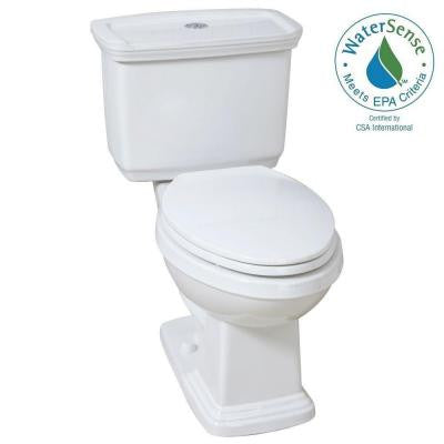 2-piece 1.0 GPF/ 1.28 GPF Dual Flush Elongated Toilet in White