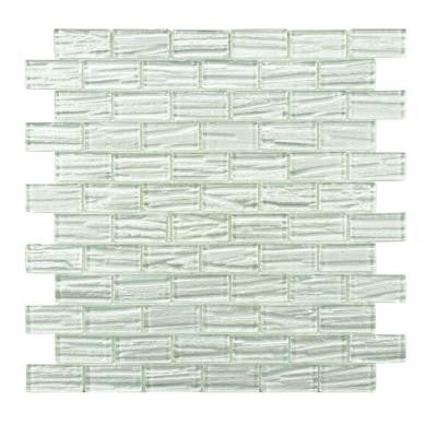 Aspen Subway White 12-1/2 in. x 12-1/2 in. x 5 mm Glass Mosaic Wall Tile