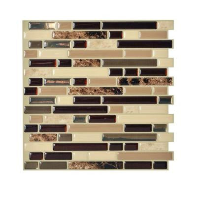 Bellagio Keystone 10.00 in. x 10.06 in. Peel and Stick Mosaic Decorative Wall Tile Backsplash in Beige (Box of 12 Tiles)