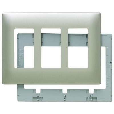 Screwless 3 Rocker Wall Plate - Nickel
