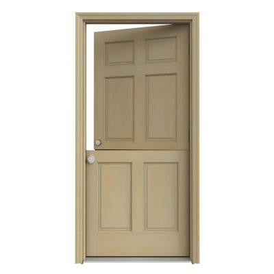 32 in. x 80 in. 6-Panel Unfinished Dutch Hemlock Wood Prehung Front Door with Brickmould