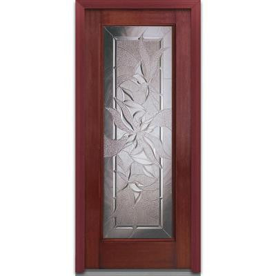 36 in. x 80 in. Lasting Impressions Decorative Glass Full Lite Finished Mahogany Fiberglass Prehung Front Door