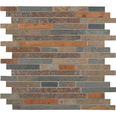 Rustic Creek Interlocking 12 in. x 12 in. x 8 mm Metal Stone Mesh-Mounted Mosaic Tile