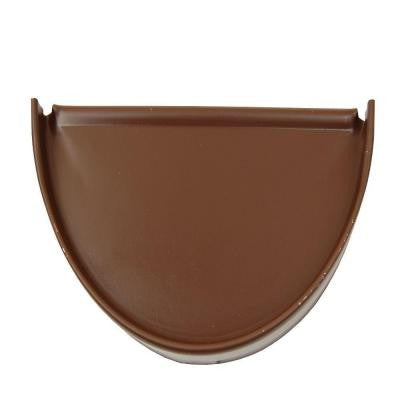 6 in. Royal Brown Aluminum Half-Round End Cap