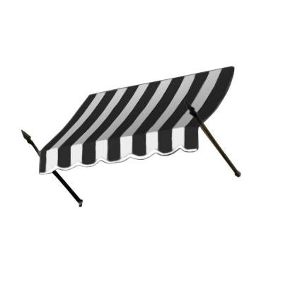 4 ft. New Orleans Awning (44 in. H x 24 in. D) in Black / White Stripe
