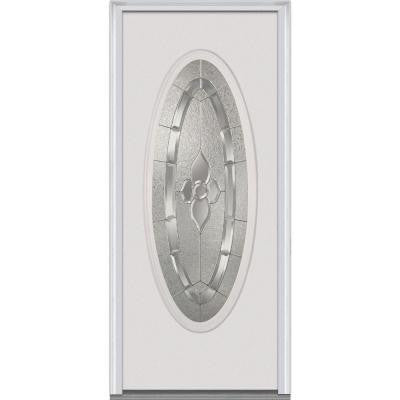 34 in. x 80 in. Master Nouveau Decorative Glass Full Oval Lite Primed White Steel Prehung Front Door