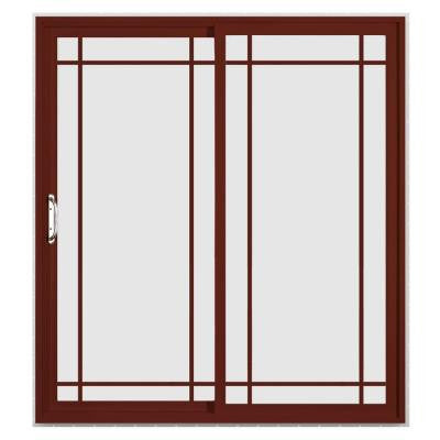 72 in. x 96 in. V-4500 Mesa Red Prehung Right-Hand Sliding 9 Lite Vinyl Patio Door with White Interior
