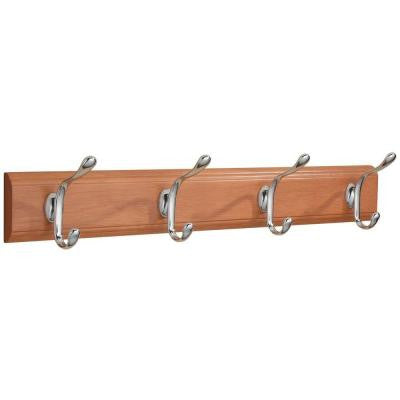 Paris 22 in. Cherry Wall-Mount Rack with 4 Chrome Hooks