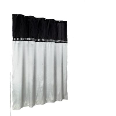 Cornice 72 in. Horizontal Embroidered Shower Curtain in Ebony and Silver Faux Silky