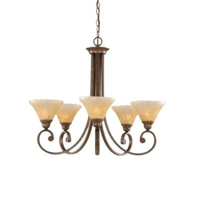 Concord 5-Light Bronze Chandelier with Amber Crystal Glass