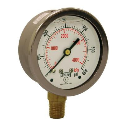 PFQ Series 2.5 in. Stainless Steel Liquid Filled Case Pressure Gauge with 1/4 in. NPT LM and Range of 0-600 psi
