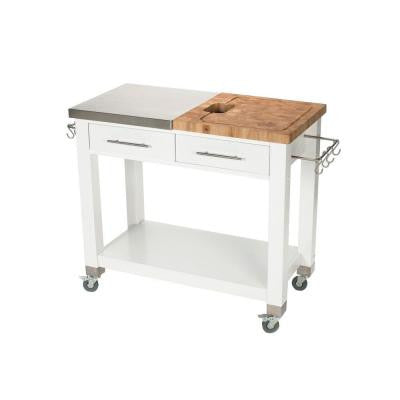 20 in. W Chef Work Station with Sliding Wood Top and Stainless Steel Top with Chop and Drop System