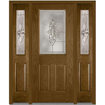 64 in. x 80 in. Heirloom Master Decorative Glass 1/2 Lite Finished Oak Fiberglass Prehung Front Door with Sidelites