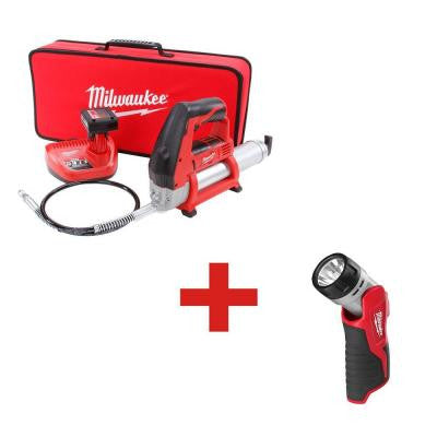M12 12-Volt Lithium-Ion Cordless Grease Gun XC Kit with M12 12-Volt Battery Work Light