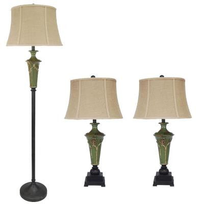 #8741 3-Piece Bronze with Green Ceramic Lamp Set