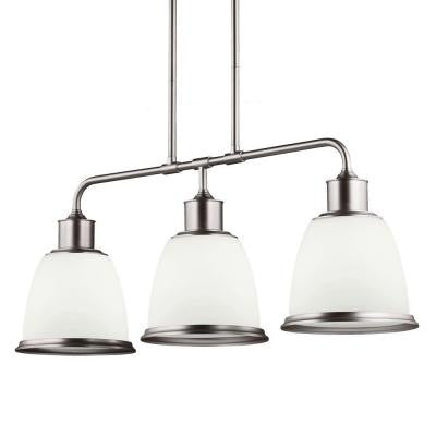 Hobson 3-Light Satin Nickel Billiard Island Chandelier