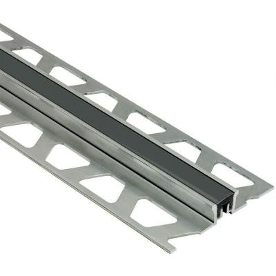 Dilex-KSN Aluminum with Black Insert 5/16 in. x 8 ft. 2-1/2 in. Metal Movement Joint Tile Edging Trim