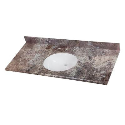 49 in. Stone Effects Vanity Top in Avalon with White Basin