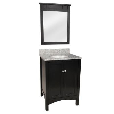 Haven 25 in. Vanity in Espresso with Napoli Granite Vanity Top and Mirror in Espresso with White Basin